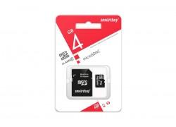 Карта памяти microSDHC Smartbuy 4 GB (class 10) с адаптером