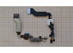 Шлейф для iPhone 4s с разъемом зарядки, микрофон (на черный)