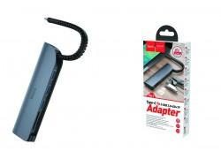 Адаптер USB Type-C (M) --> 3 USB3.0 (F) + SD (F) + TF (F) HOCO HB17