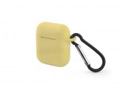 Чехол Soft-Touch для гарнитуры вакуумной беспроводной AirPods желтый с карабином и нижней заглушкой