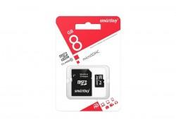 micro SDHC карта памяти Smartbuy  8GB Сlass 10 (с адаптером SD)