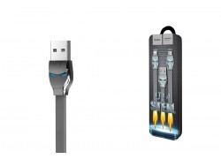 Кабель USB micro USB HOCO U14 Steel man micro charging cable (серый) 1 метр
