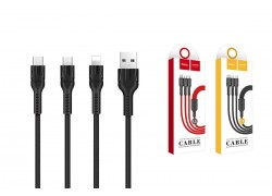 Кабель для iPhone HOCO U31 3 в 1 lightning /micro/Type-c cable 1м черный