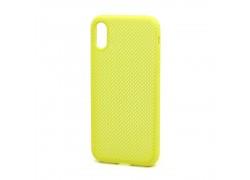 Пластиковая накладка обрезиненная iPhone X/XS  желтая с перфорацией в оригинальном блистере