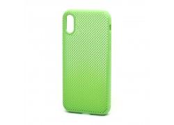 Пластиковая накладка обрезиненная iPhone X/XS  зеленая с перфорацией в оригинальном блистере