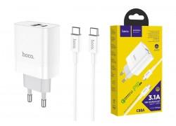 Сетевое зарядное устройство USB + USB-C + кабель Type-C HOCO C80A Rapido PD20W + QC 3.0 charger белый