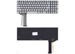 Клавиатура для ноутбука Asus N551 серая без рамки с подсветкой