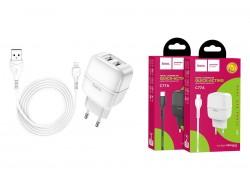 Сетевое зарядное устройство 2 USB 2400mAh + кабель iPhone 5/6/7 HOCO C77A Highway dual port charger  белый
