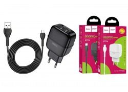 Сетевое зарядное устройство 2 USB 2400 mAh + кабель micro USB HOCO C77A Highway dual port черный
