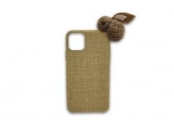 """Пластиковая накладка iPhone 11 Pro (5.8) льняная с мягкой игрушкой """"Кролик"""" светлокоричневая"""