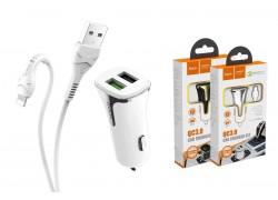 Автомобильное зарядное устройство 2USB HOCO Z31 + кабель iPhone 5/6/7 QC3.0 белый