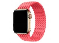 Ремешок силиконовый с плетением для Apple Watch 42-44 мм цвет яркорозовый размер S