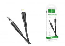 Переходник кабель HOCO UPA18 черный (Jack 3.5mm -  Lightning) 1м