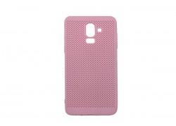 Силиконовая накладка Samsung J8 (2018) розовая с перфорацией