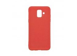 Силиконовая накладка Samsung A6 (2018) красный с перфорацией