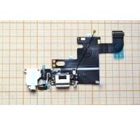Шлейф для iPhone 6 (4.7) с разъемом зарядки, разъем гарнитуры, микрофон (белый - золотистый) HQ