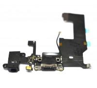 iPhone 5 - шлейф с разъемом зарядки + разъем гарнитуры + микрофон (на черный) HQ