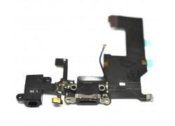 Шлейф для iPhone 5 с разъемом зарядки,  разъем гарнитуры, микрофон (на черный) HQ