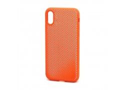 Пластиковая накладка обрезиненная iPhone X/XS  оранжевая с перфорацией в оригинальном блистере