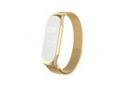 Браслет металлический для XIAOMI MI Band 4 (Миланское плетение)  цвет глянцево золотой