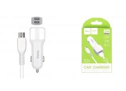 Автомобильное зарядное устройство 2USB 2400mAh HOCO Z23 grand style dual-port car charger + кабель micro USB белый