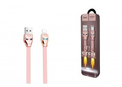 Кабель для iPhone HOCO U14 Steel man lightning charging cable 1м розовый