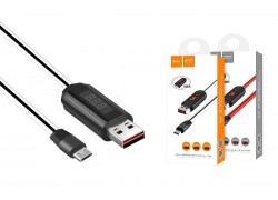 Кабель USB micro USB HOCO U29 LED displayed timing micro charging cable (белый) 1 метр