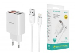 Сетевое зарядное устройство 2USB + кабель iPhone 5/6/7 BOROFONE BA58A Mighty dual port charger set белый