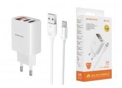 Сетевое зарядное устройство  2 USB 2400 mAh + кабель micro USB BOROFONE BA58A Mighty dual port charger белый