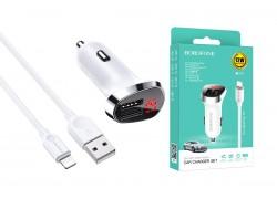 Автомобильное зарядное устройство 2USB 2400 mAh BOROFONE BZ15 dual port + кабель iPhone Lightning белый