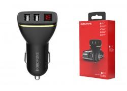 Автомобильное зарядное устройство 2USB BOROFONE BZ11 Speed map dual-port display car charger 2400 mAh черный